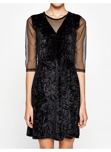 Kolları Şifon Detaylı Kloş Elbise-Koton